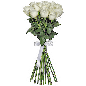 Букеты на 14 февраля - Букет из  белых роз - премиум